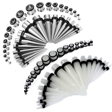 BodyJ4You 72PCS Gauges Kit 14G-00G Glow Dark Acrylic Steel Tunnel Plug Taper Stretch Jewelry