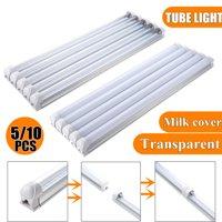 5/10 Packs T8 LED Light Tube,50cm 12W,6500K Cool White Clear/Milk Cover,LED Tube Light,Linkable Integrated LED Shop Light for Garage,Warehouse,Shop, Commercial Light Fixture