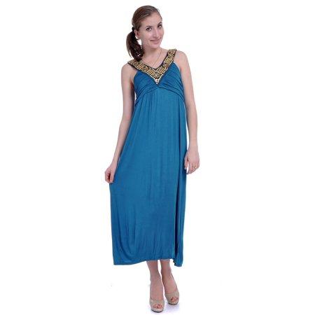 Princess Bodice - Anna-Kaci S/M Blue Exotic Princess Empire Waist Pleated Bodice Studded Dress