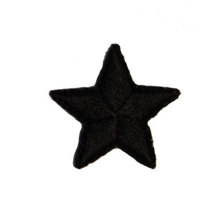 Star Applique Craft - ID 3466E Black Star Patch Night Sky Craft Symbol Embroidered Iron On Applique