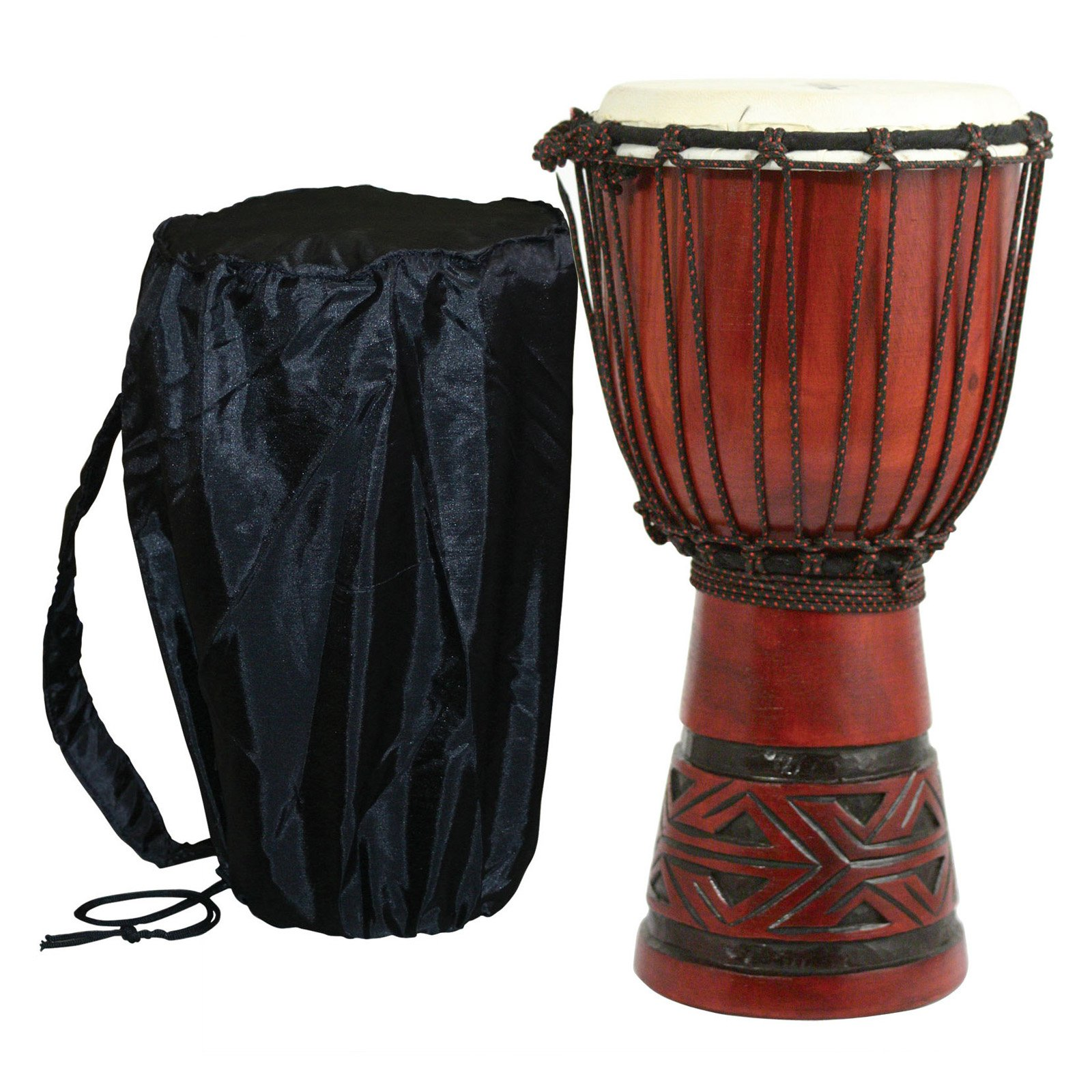 X8 Drums Celtic Labyrinth Djembe Drum with Tote Bag