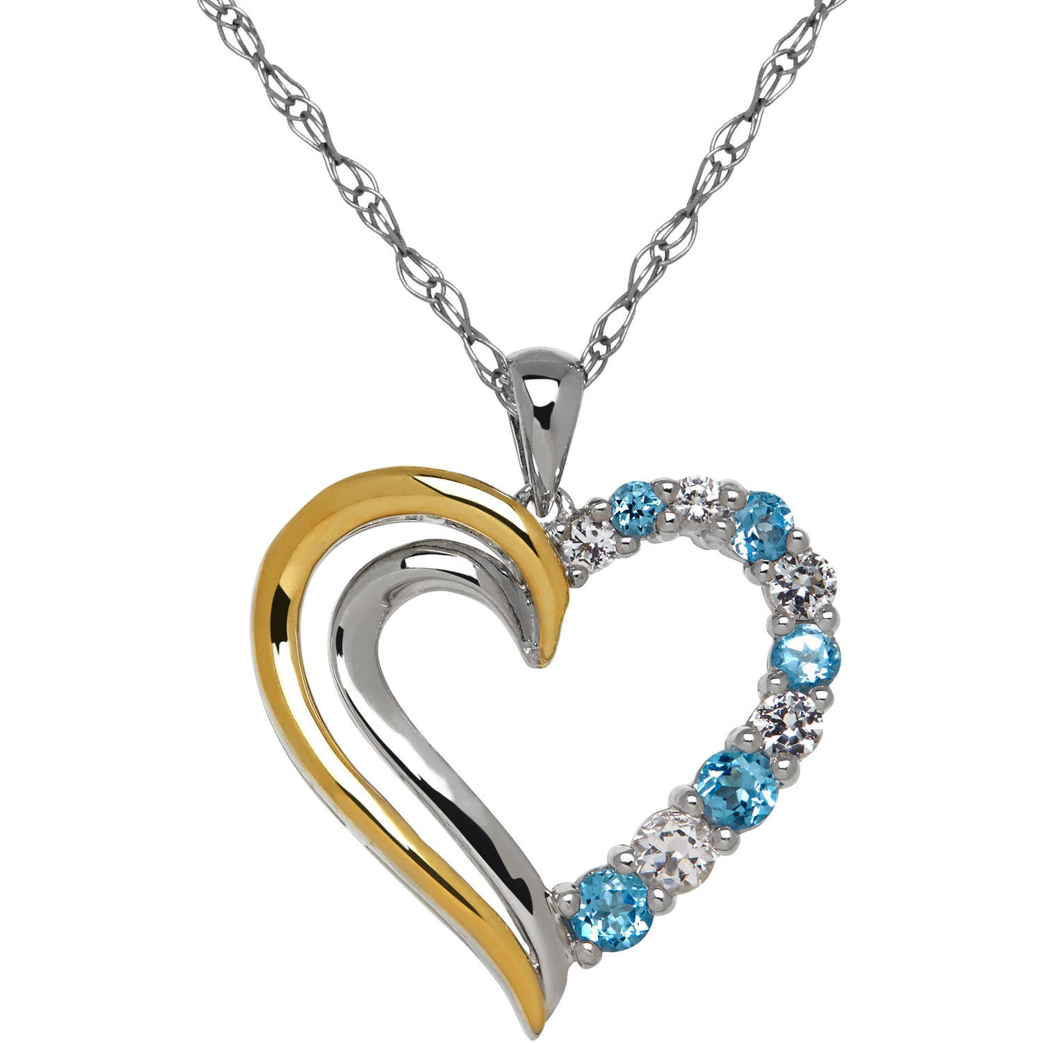 Duet Blue with White Topaz Sterling Silver and 10kt Yellow Gold Open Heart Pendant, 18""