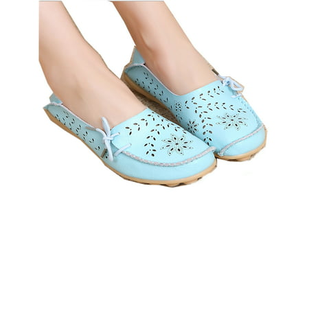 Safety Walk Slip (FLORATA Women's Driving Shoes Loafers Softness Natural Comfort Walking Flat Shoes Slip On Anti-skid Moccasins )