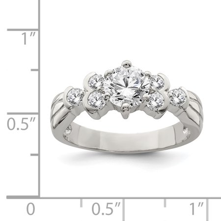 925 Sterling Silver Cubic Zirconia Cz Band Ring Size 7.00 Fine Jewelry Gifts For Women For Her - image 2 de 6
