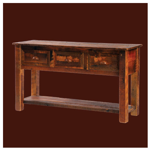 Fireside Lodge Reclaimed Barnwood Three Drawers Console Table