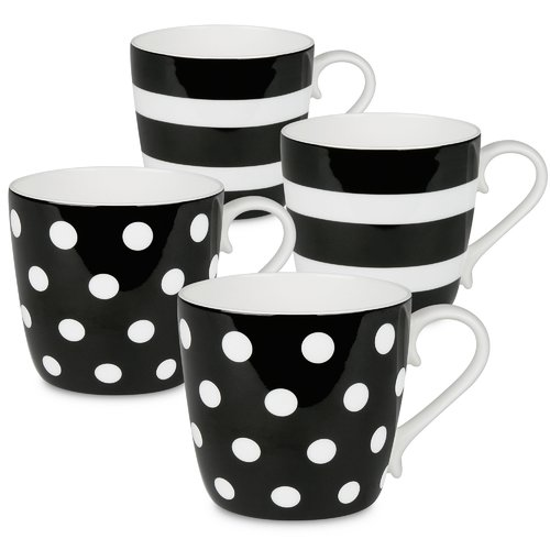 Latitude Run Sterling Polka Dots and Stripes 4 Piece Coffee Mug Set