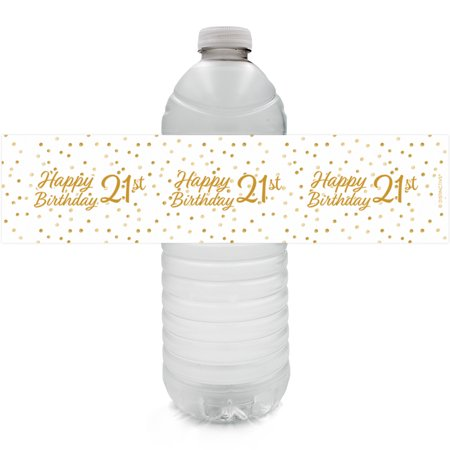 21st Birthday Water Bottle Labels, 24 ct - Adult Birthday Party Supplies White and Gold 21st Birthday Party Decorations Favors - 24 Count Sticker Labels for $<!---->