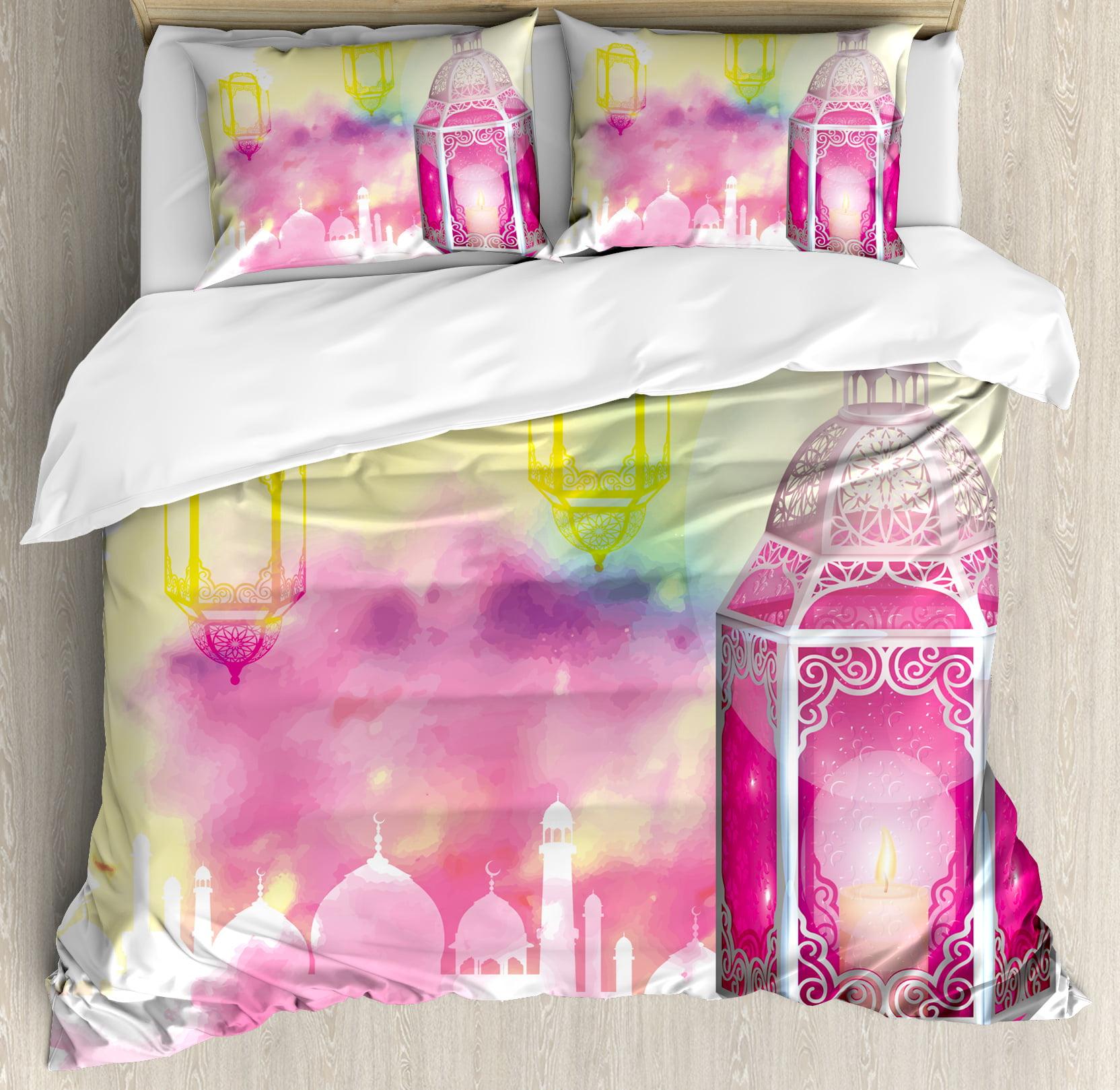 Lantern King Size Duvet Cover Set, Eid Mubarak Ramadan Kareem Prayer Islam... by Kozmos