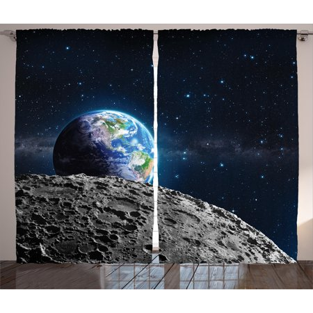 Galaxy Curtains 2 Panels Set, View of Earth from Moon Surface Lunar Satellite Spacewatch Tracking Project, Window Drapes for Living Room Bedroom, 108W X 84L Inches, Grey Dark Blue, by Ambesonne ()