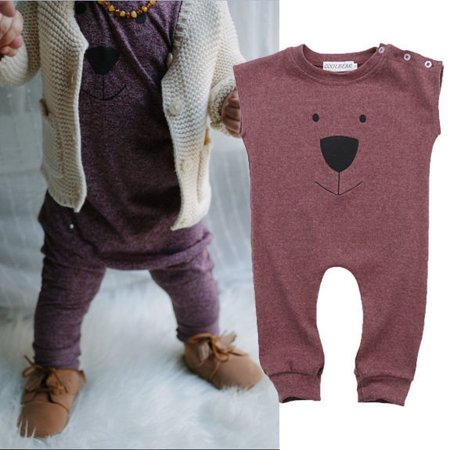 af037dcf8 FUFUCAILLM - Infant Toddler Baby Girl Boys Bear Sleeveless Jumpsuit ...