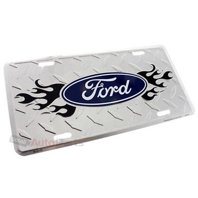 SmallAutoParts Aluminum License Plate - Ford Flames