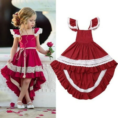Pageant Costumes For Halloween (Princess Toddler Kids Baby Girl Dress Ruffles Sleeveless Lace Tutu Formal Pageant Party Dresses Clothes)
