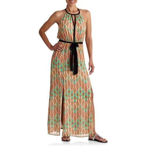 Stitch Women's Keyhole Tie Waist Maxi Dress