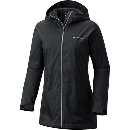 Columbia Women's Switchback Lined Long Rain Jacket, Black, XL ()