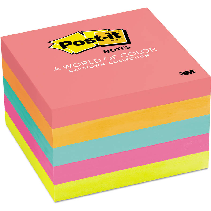 Post-it Notes, 3 in x 3 in, Cape Town Color Collection, 5-Pack