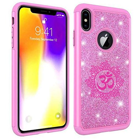Glitter Bling Sparkle Shockproof Protective Hard Soft Case Cover for Apple iPhone Yoga Floral (Pink, for Apple iPhone 6 Plus/iPhone 6s Plus)