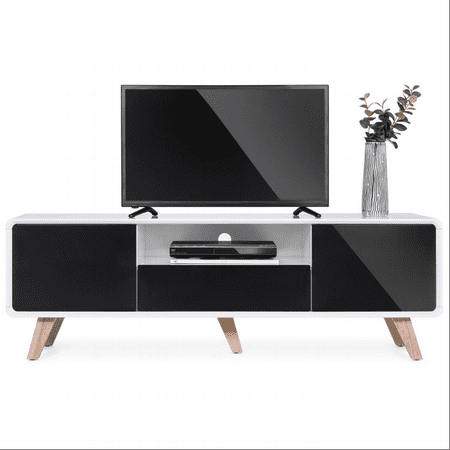 Best Choice Products 59in Mid-Century Modern TV Stand Entertainment Media Console Center for Television Screens Up to 65-Inches w/ 2 Cabinets, Magnetic Push-to-Open Doors, Soft-Closing Hinges,