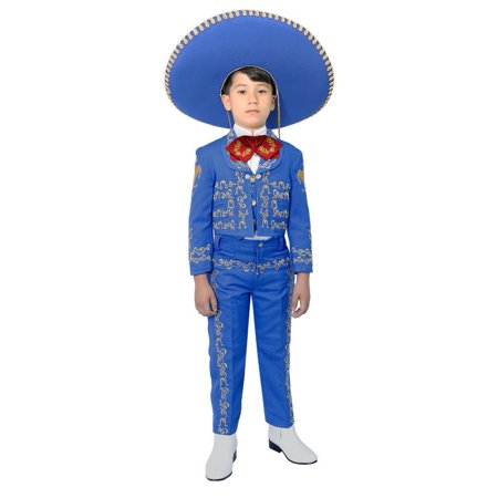 Boys Royal Blue Embroidered Mariachi Pants Jacket Hat Set