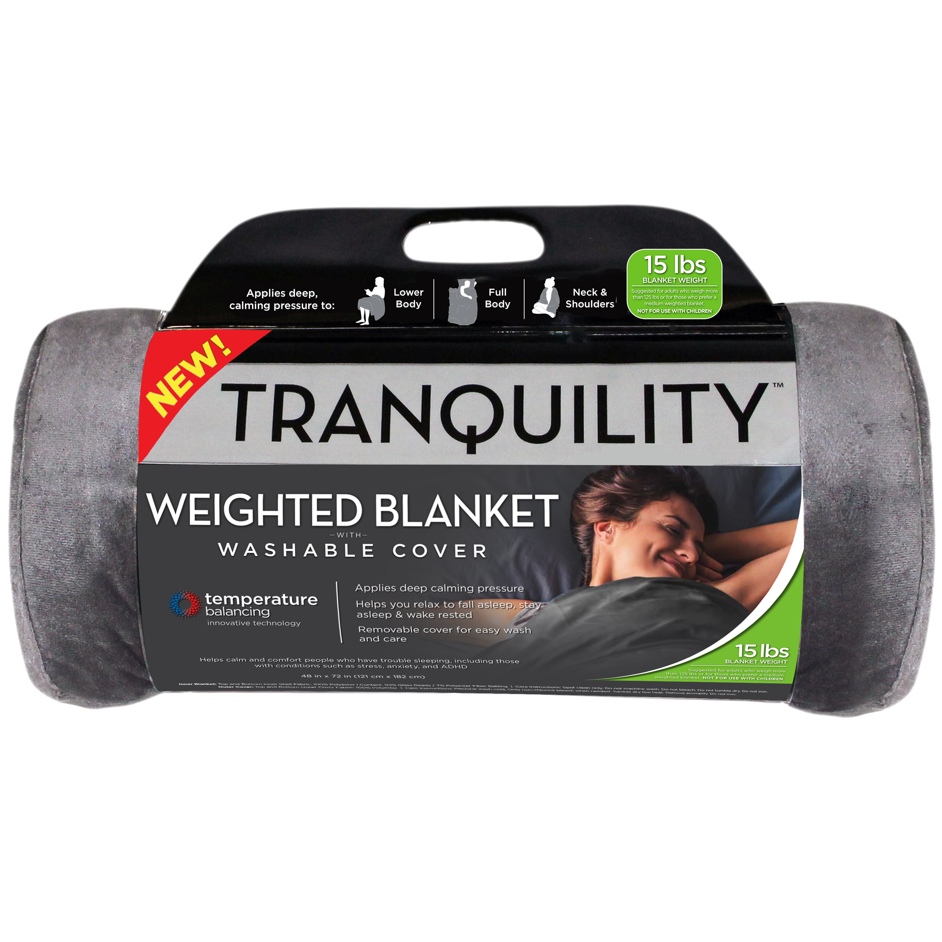 Tranquility Temperature Balancing Weighted Blanket With Washable Cover 15 Lbs Walmart Com Walmart Com