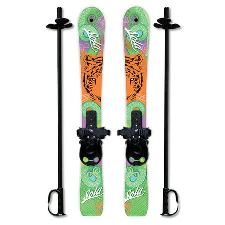 SOLA Kid's Snow Skis & Poles Winter Sports Beginner W/ Bindings Age 2 - 4 (Tiger)
