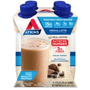 Atkins Gluten Free Protein-Rich Shake, Mocha Latte, Keto Friendly, 4 Count (Ready to Drink)