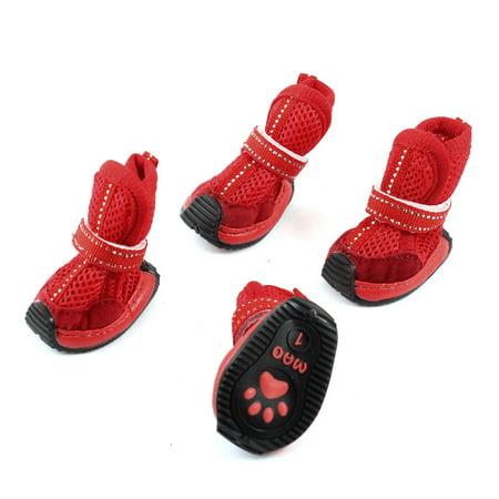 2 Pairs Meshy Detachable Closure Pet Dog Yorkie Cat Shoes Booties
