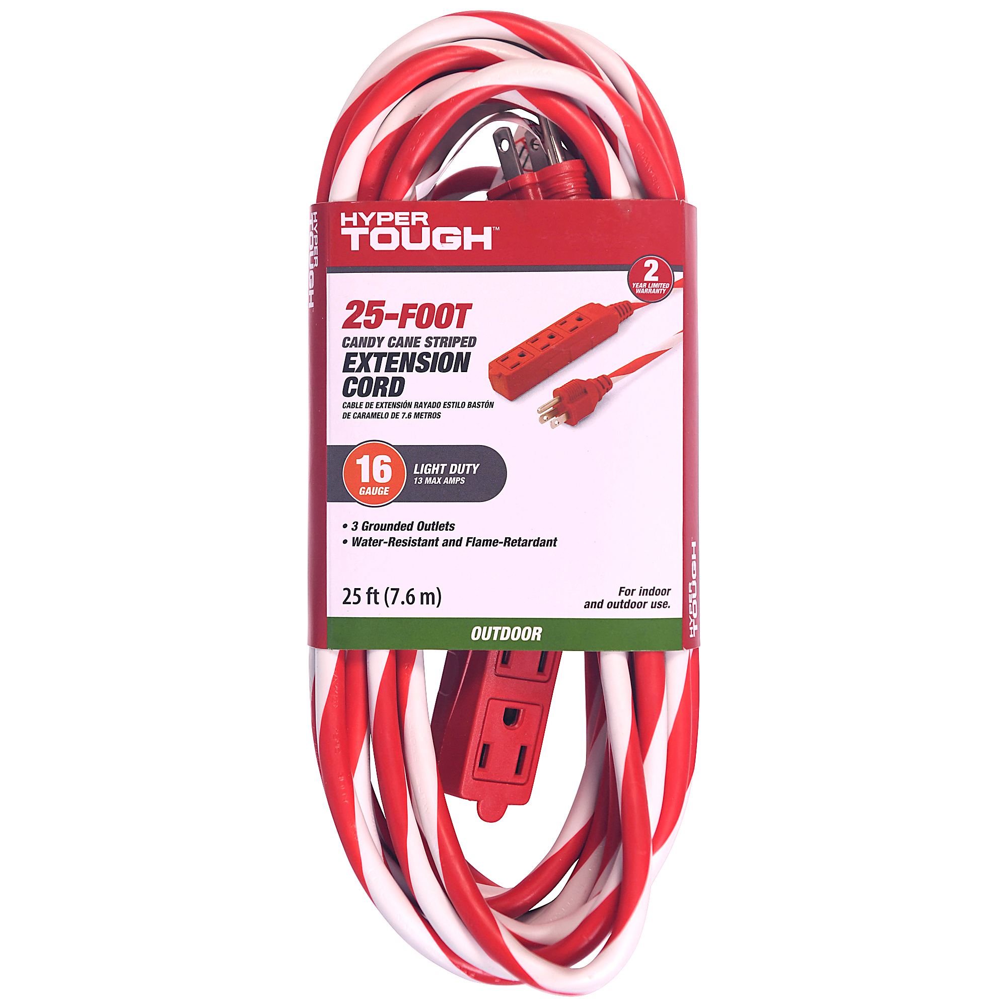 Hyper Tough 3-outlet 25` Candy Cane Cord