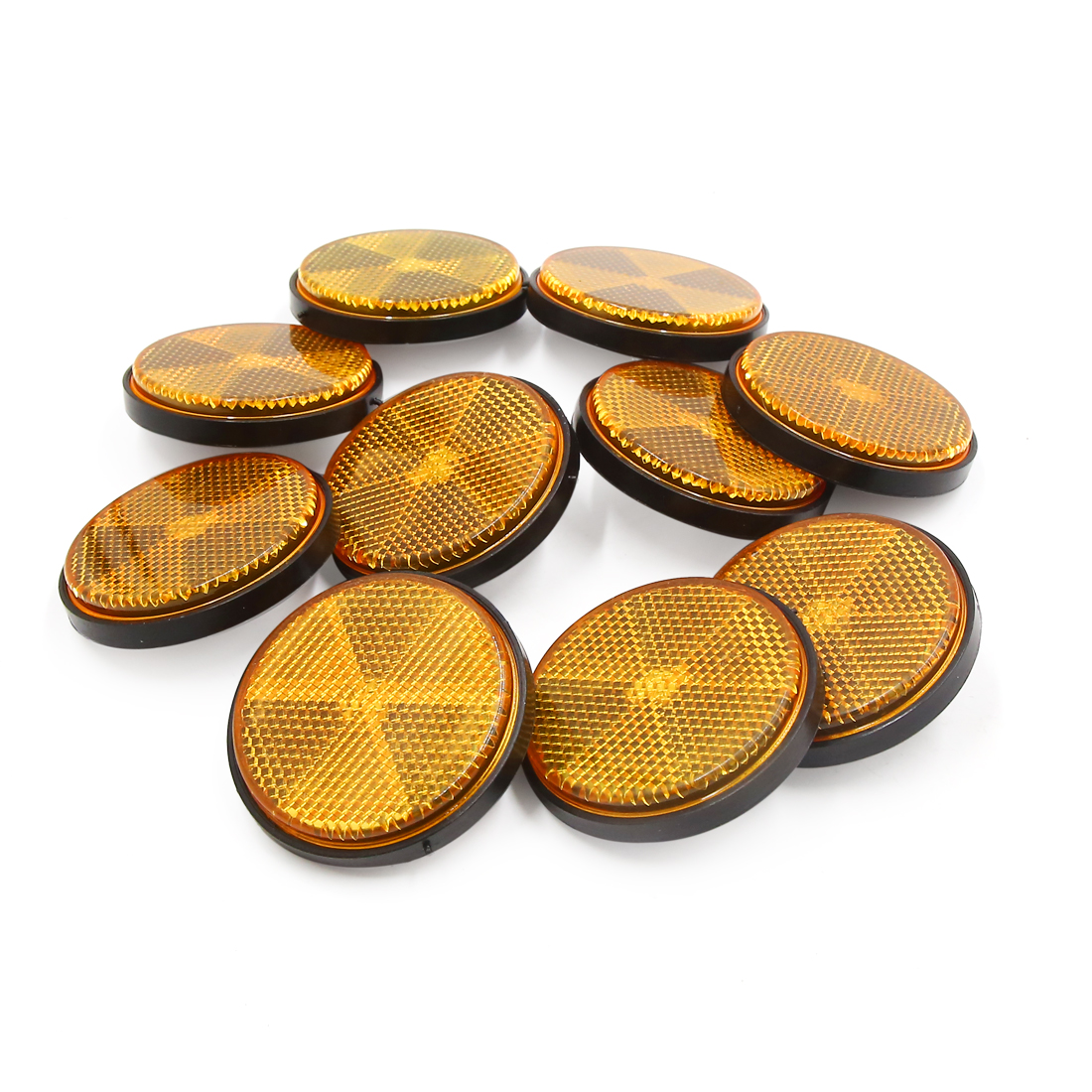 10pcs 59mm Orange Plastic Screw Reflective Warning Reflector for Motorcycle