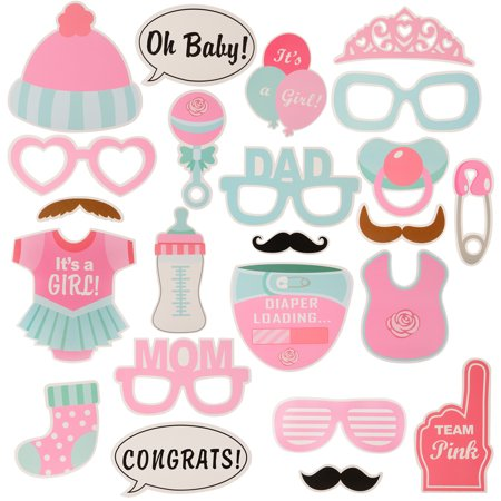 25-Piece Photo Booth Props for Baby Shower Baby Party with Diaper Glasses Girl - Baby Shower For Girls