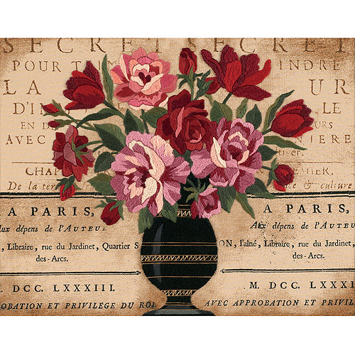 "Dimensions ""Parisian Bouquet"" Crewel Kit, 14"" x 11"", Stitched In Wool and Thread"