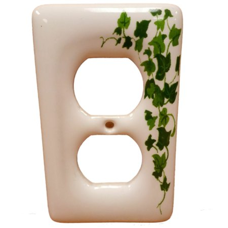Receptacle Cover Plates - Leviton Green Vine Pattern Ceramic Receptacle Wallplate Duplex Outlet Cover 89503-GRN