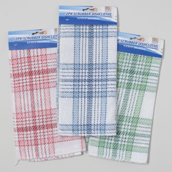 SCRUBBER DISHCLOTH 2PK 11.5 INCH SQUARE 3ASST PLAID COLORS, Case Pack of 48