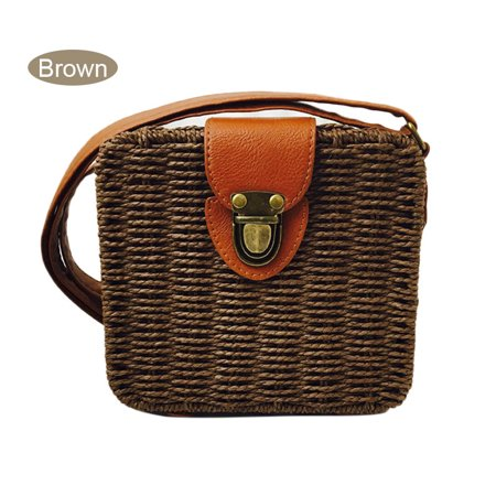 Woman Candy Color Straw Bag Messenger Bags Small Ladies Summer Beach Shoulder Rattan Crossbody Bags New](Candy Bags Purses)