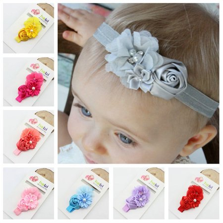 8 Colors Cute Infant Baby Girls Sweet Rose Flowers & Pearl Decor Elastic Headband Hair Band Hair Accessories Photo Props (Sweet 16 Headband)