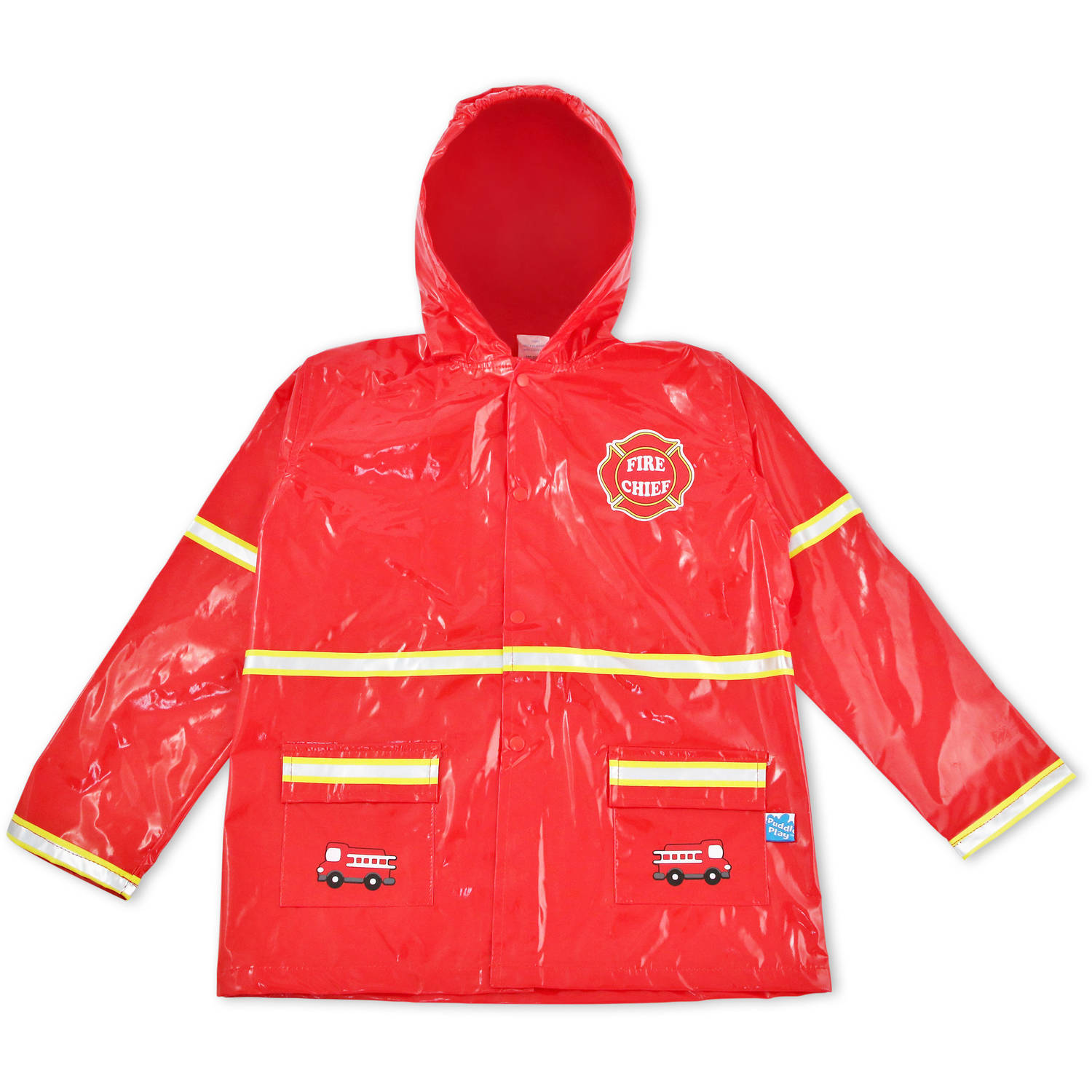 Image of ABG red fire chief rain slicker with hood.