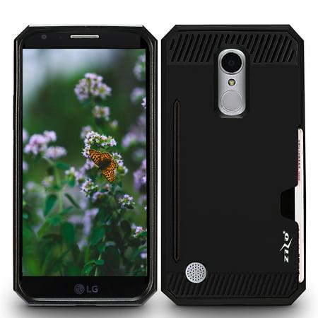 LG Aristo Case, [Standard Black] Matte Rubberized Finish Hard Plastic Cover on Soft Silicone Skin Dual Layer Hybrid Case Black Rubberized Plastic Case