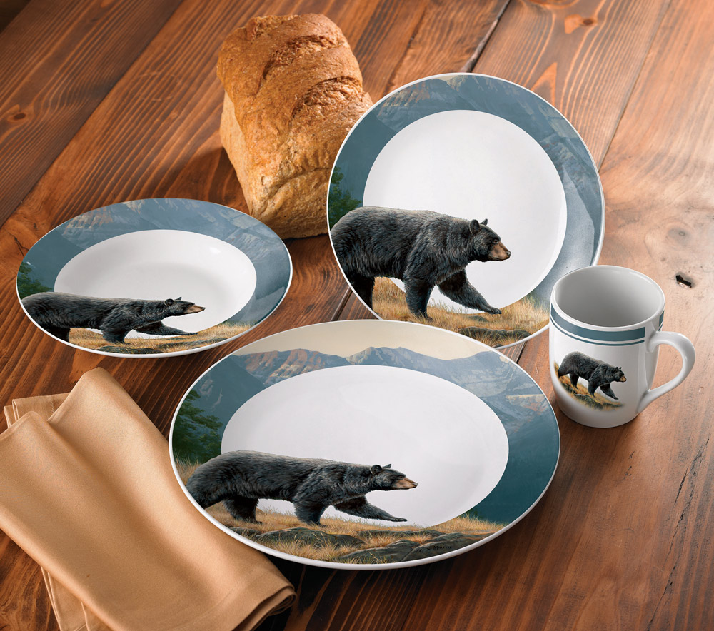 & Ridgeline black bear dinnerware set - 16 pcs - sale - Walmart.com