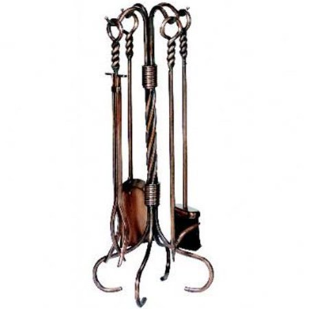Copper Fireset (5 Pc Antique Copper Fireset With Ring/Swirl Handles/Tampico Brush )