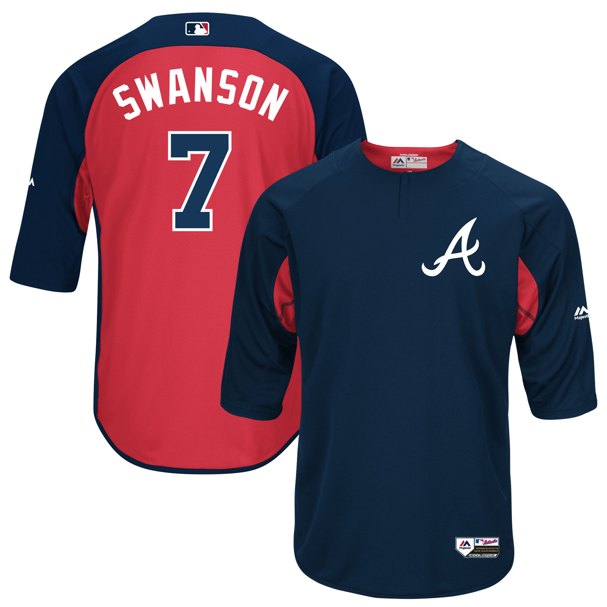Dansby Swanson Atlanta Braves Majestic Authentic Collection On-Field 3/4-Sleeve Player Batting Practice Jersey - Navy