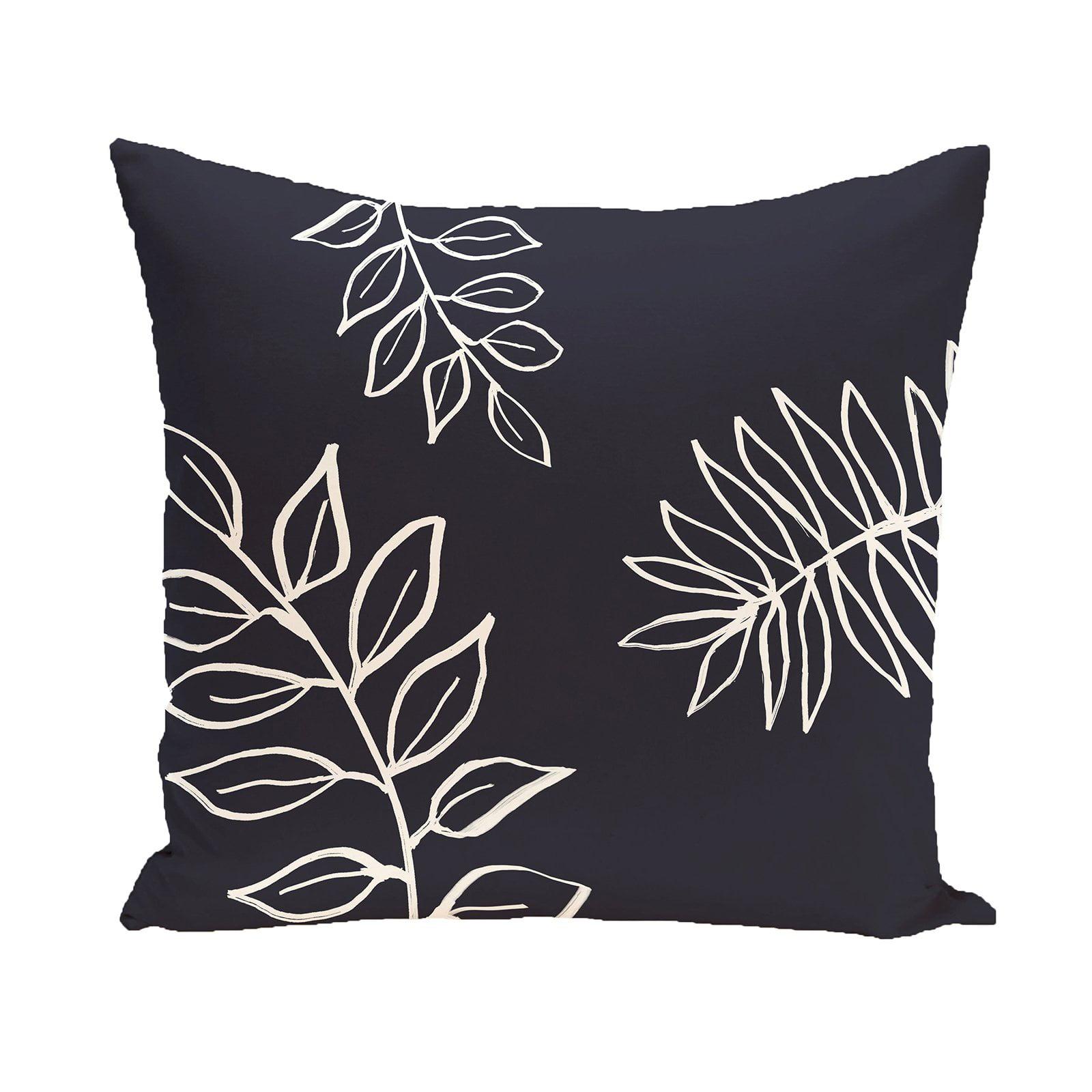 E by Design Leaf Imprint Decorative Pillow