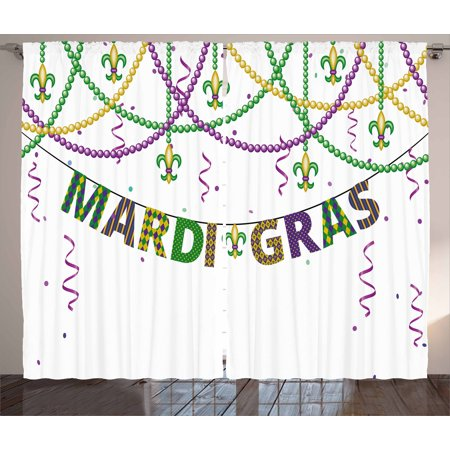 Mardi Gras Curtains 2 Panels Set, Festive Design with Fleur De Lis Icons Hanging From Colorful Beads, Window Drapes for Living Room Bedroom, 108W X 108L Inches, Purple Green Yellow, by