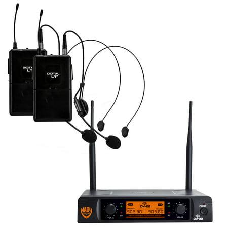 "Nady DW-22 Dual Digital Wireless Headset Microphone System with 2 bonus Lapel Microphones – Ultra-low latency with QPSK modulation - XLR and ¼"" outputs – UHF (Wireless Uhf Xlr Plug)"