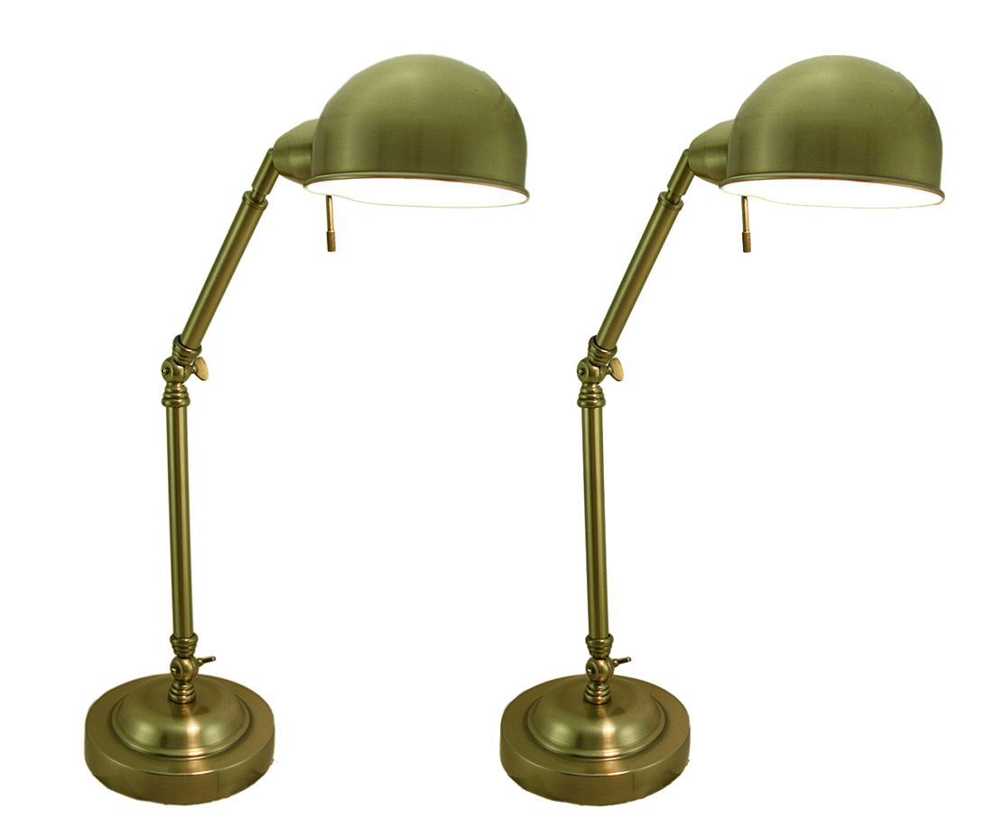 Antique Brass Finish Adjustable Arm Metal Task Lamp Set of 2 by LEON KOROL COMPANY