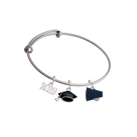 Silvertone Small Navy Blue Megaphone - 2019 Graduation Charm Bangle Bracelet