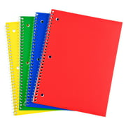"""Pen + Gear 1-Subject Wide-Ruled Notebook, Assorted Colors, 10.5"""" x 8"""", 80 Sheets Each, 4 Pack"""