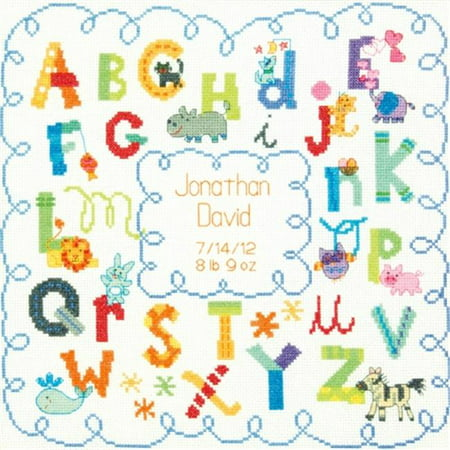 Dimensions Baby Hugs Alphabet Birth Record Counted Cross Stitch Kit, 12