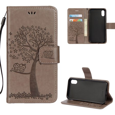 iPhone X Case, iPhone XS 2018 Wallet case, Allytech Pretty Retro Embossed Owl Flower Tree Design PU Leather Book Style Wallet Flip Case Cover for Apple iPhone X/ XS/ iPhone 10, Gray