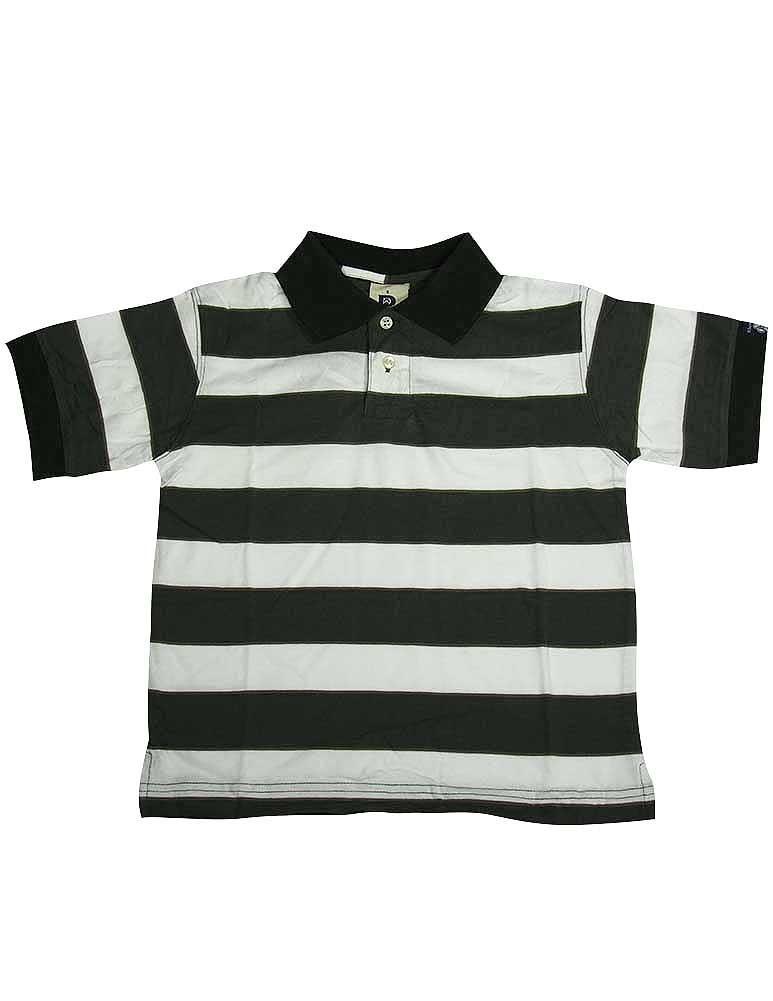Dogwood Clothing - Little Boys Short Sleeve Striped Polo Shirt GREEN / 7