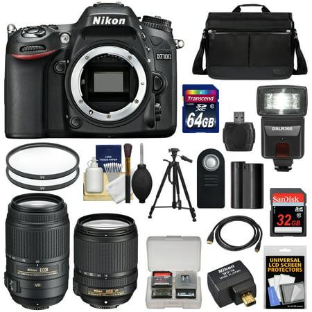 Nikon D7100 Digital SLR Camera with 18-140mm & 55-300mm VR Lenses, WU-1a, Bag + 32GB & 64GB Card + Battery + Flash + Filters + Remote + Tripod + Kit