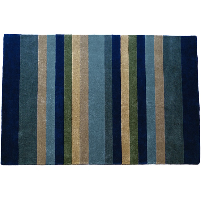 Abhiasmi Jovi HomeTailored Multi Stripe Hand-tufted Rug (5'x8')